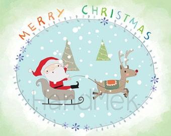 Christmas Clipart / Santa Clipart  Instant Download,PNG,JPEG,EPS file - 300 dpi