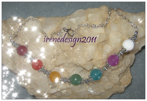 Handmade Silver Chakra Necklace with 7 Gemstones by IreneDesign2011