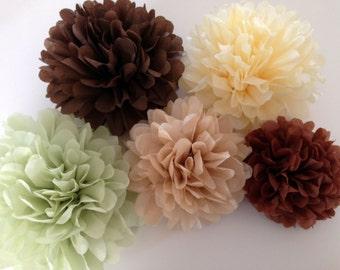 Set of 24 tissue paper pom poms-party poms-birthday pompoms-hanging pom poms-wedding decor-party decor-wedding reception-poms