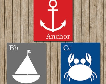 Nautical alphabet prints 8x10