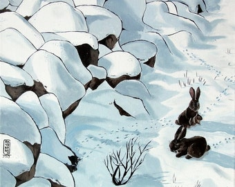 Rabbits in the snow - print on paper coated 300g - A3