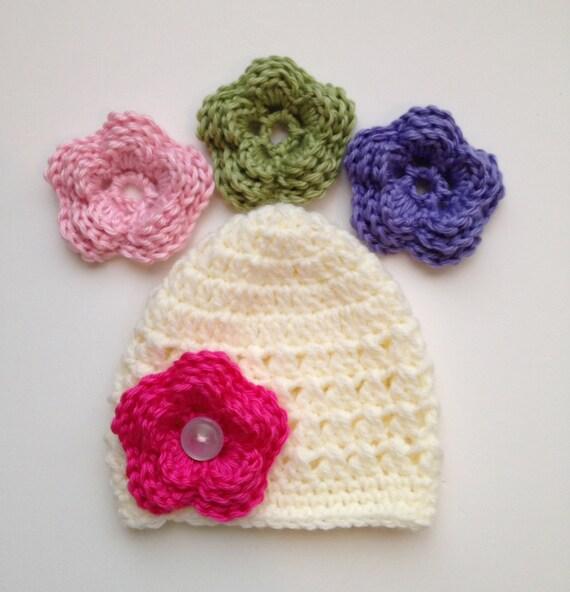 Crochet Flower Pattern For Newborn Hat : Baby Girl Hat Crochet Pattern NEWBORN SIZE Flower Hat