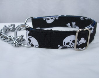 Black Skull and Crossbones Half Check / Martingale Dog Collar