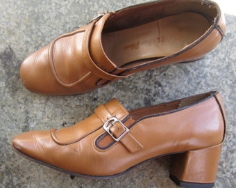 Vtg 1960's MOD camel leather buckle pixie shoes boho chic womans 7 heels The Shoe Place