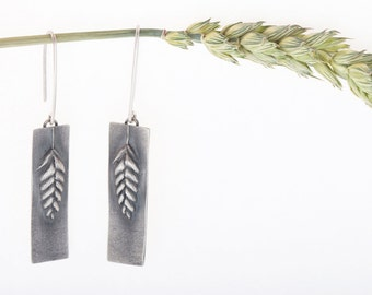 Recycled Sterling Silver Quaking grass Long Earrings. Handmade in Latvia. Inspired by Nature and Slow Fashion. Unique Meadow design