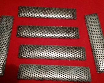 6x Vintage Perforated Brass Large Beading Bar Findings from  Miriam Haskell Stock