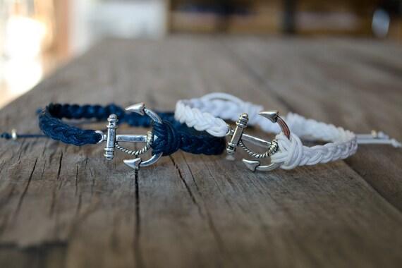 Ancre unisexe bracelet r glable ancrage bracelet homme - Bracelet couple ancre ...