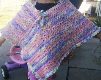 Crocheted Girls' Triangle Poncho