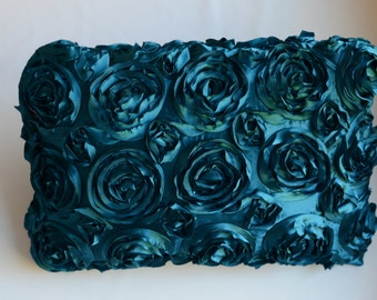 Textured Rose Rectangular or Square  Pillow Cover - Turquoise