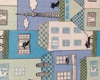 Cotton Linen Fabric - 1 MeterThe Building Fabric - the Cat Print - Cats - Black Cat - Blue(W140cm)