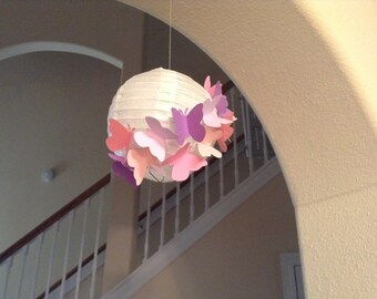 "6"" pink and purple fantasy, paper lantern, butterfly lantern, butterfly party, butterfly decor, room decor, nursery lantern, hanging decor"