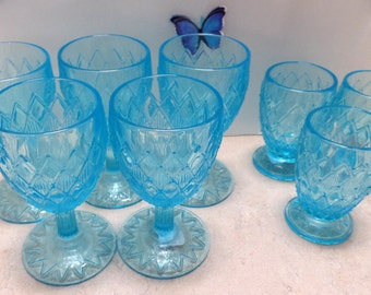 f 5 large, and 2 small azure blue goblets, 7 total with diamond pattern, SALE~10.00  off
