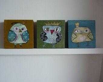 Three beautiful, funny owl paintings on 3D wood(10 x 10 cm)