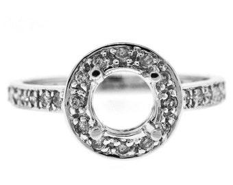 0.50 Cttw Round Diamond Halo Semi Mount Engagement Ring in 14K White Gold