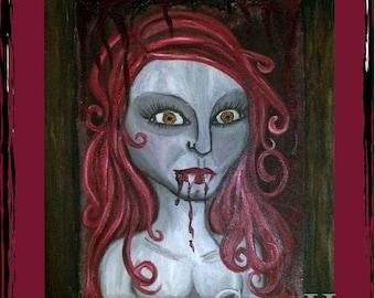 BATHORY in BLOOD-Original Horror Goth Vampire Doll Art Oil Painting 11x14 on Canvas