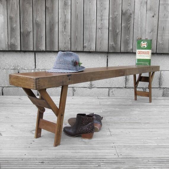 Vintage Pine Folding School Bench Seat 1940s Mid Century