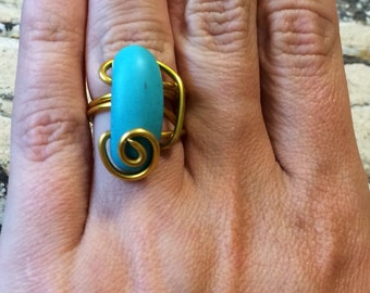 Statement Turquoise Howlite  wrap ring.