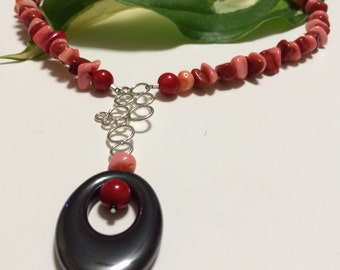BOLD Statement sterling silver Red&Pink Coral and Hematite necklace.