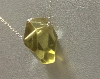 A drop of Golden Sun! Sterling Silver Lemon Quartz Drop necklace.