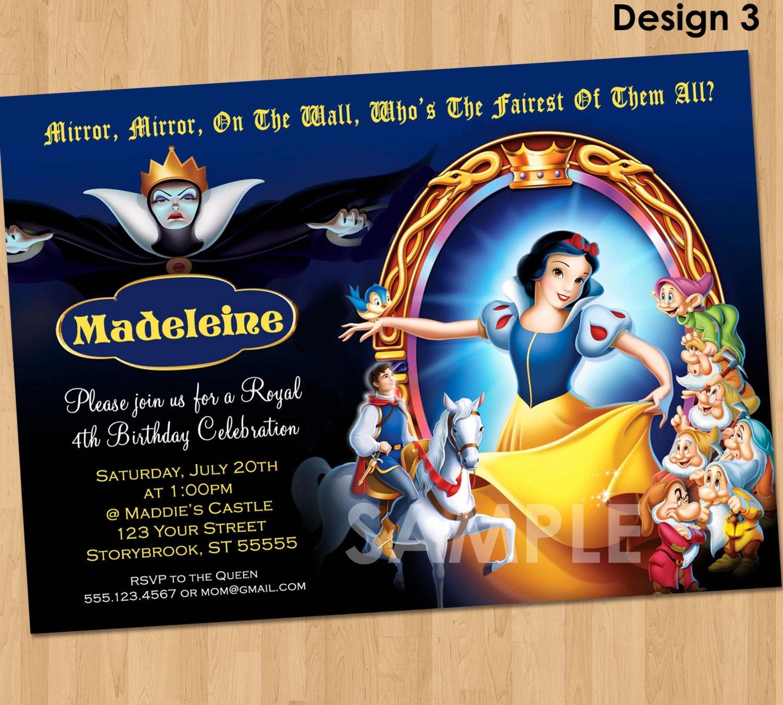 Snow White Party Invitation Custom Personalized 5x7 – Snow White Party Invitations