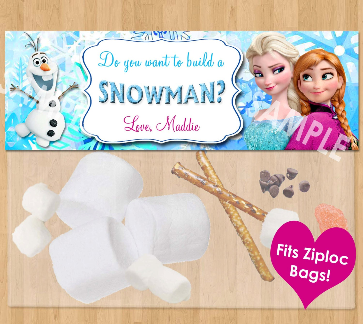 Do You Want to Build a Snowman Frozen Favor Bag Toppers