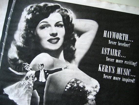 "1942 Rita Hayworth ""You Were Never Lovelier"" Vintage Ad / Ready to Frame / Paper Ephemera"