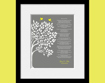 Personalized Parent's Poem, Thank You Parent's Gift, Wedding Day Gifts for Our Parents, Thank You Poem for Mom and Dad, Keepsake Gifts