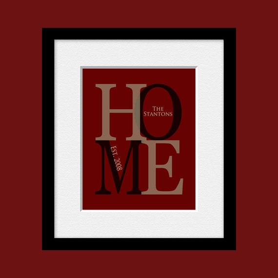 HOME Wall Print Home Decor Last Name and Established Date