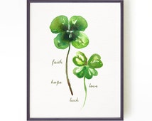 Shamrocks watercolor, Four leaf clover print St. patrick's day decor Faith Hope Love and Luck Nature print Botanical print, Buy 2 Get 1 Free