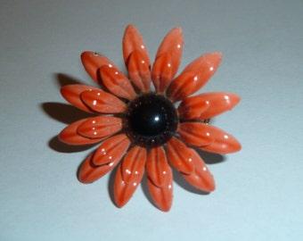 Vintage Orange 60s Mod Flower Pin