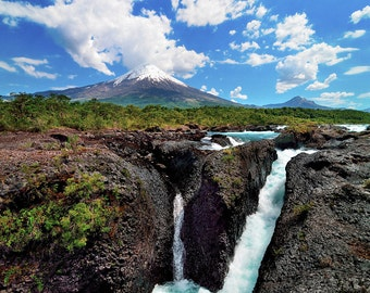 Landscape Photography, Nature Photography, Wall Decor, Chile, Volcano, Photography,Osorno, , Mountain, Waterfall, Green, South, America
