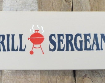 Hand painted sign, Military sign, Americana sign, Outdoor grill sign