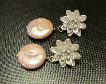 Coin Pearl Earrings Coin Pearl Drops Coin Pearl Dangles Jewelry Mauve Pearls Sterling Silver by Josephine's Cotillion