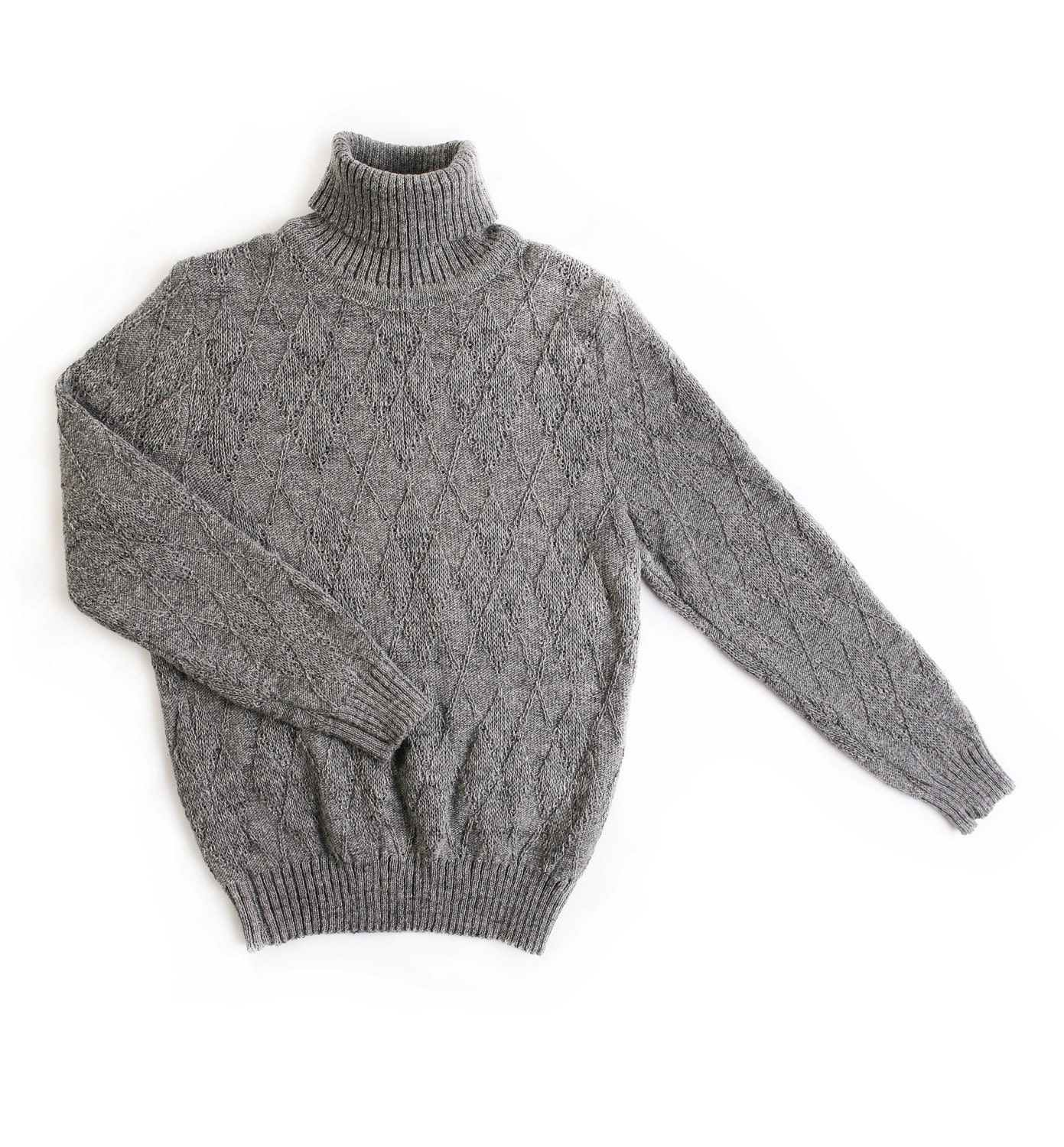 Men's knitted lambswool turtleneck sweater/high neck