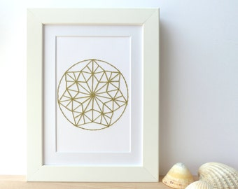 Hand embroidered card green rosette pattern-craft card-writing-decoration-mandala embroidery-contemporary textile design-birthday-gift