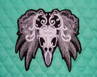 "Ghostly Baroque Raven, Iron On Patch, Renaissance, Day of the Dead,Dia de los Muertos,  Large 5"" X 4 3/4"", Tattoo, Motorcycle, Embroidered"