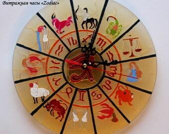 """Stained glass clock """"Zodiak"""""""