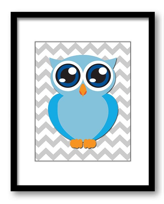 Owl Nursery Art Nursery Print Baby Art Grey Chevron Baby Animal Owl Blue Print Boys Wall Art Nursery