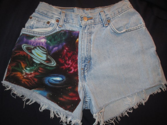 Upcycled galaxy planets solar system space shorts blue high for Solar system fabric panel