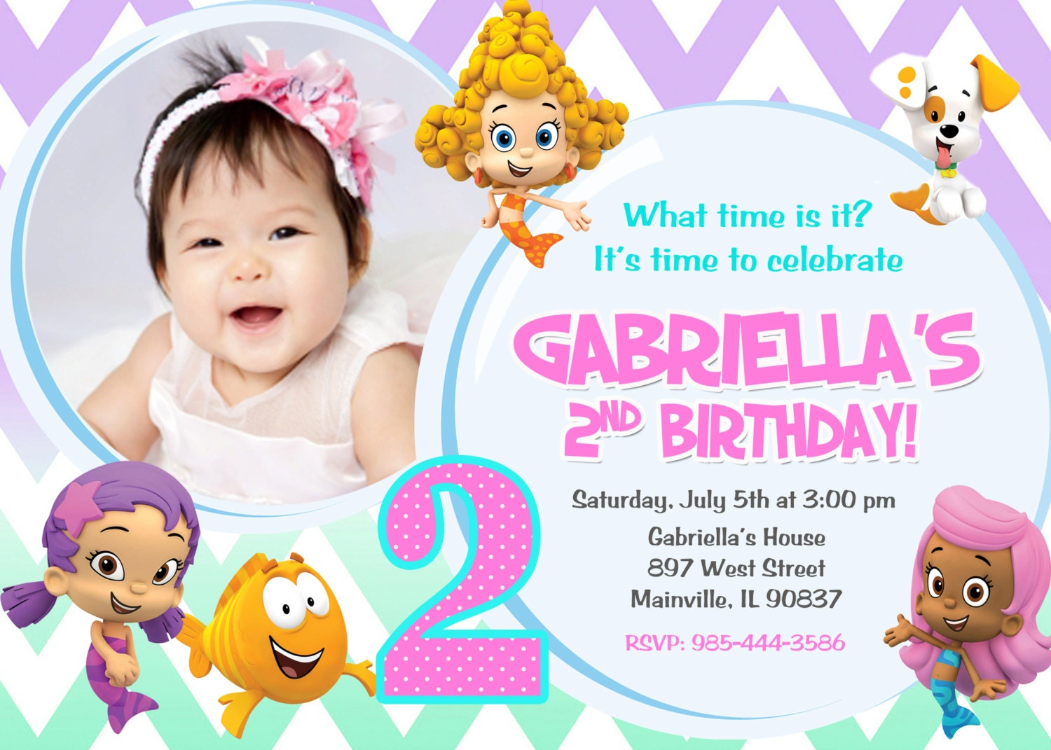 Bubble Guppies Birthday Party Invitation Digital File – Bubble Guppies Party Invites