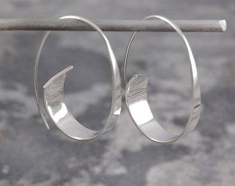 Silver Hoop Earrings - Hoop Earrings - Unique Earrings - 925 Silver Earrings - Modern Earrings - Sterling Silver Hoops - Minimal Earrings