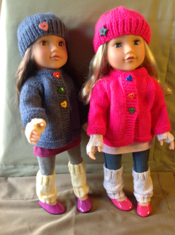 Knitting Pattern For Dolls Hoodie : Dolls Fashion Clothes Knitting pattern. 18 doll. Gotz