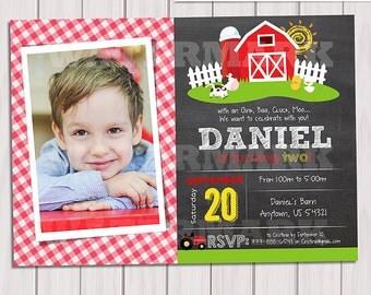 Farm Photo Invitations Old McDonald Invitations Country Birthday Party Chalkboard Farm Birthday Invitation Personalized Printable pdf