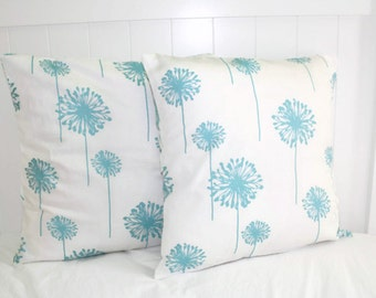 Decorative 18x18 Pillow Premier Prints: Turquoise Dandelion Pillow Cover