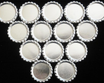 100 Linerless Flattened Chrome Silver Bottle Caps with Shiny Chrome Interior