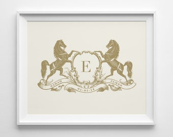 Gift for Couple Equestrian Gift, Personalized Couple Gift Engagement Wedding Gift, Gold Horse Monogram Print Hostess Anniversary Shower Gift