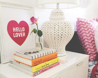 Print by Honey and Fizz - Hello Lover - printed on matt 200gsm paper. Colour - hot pink
