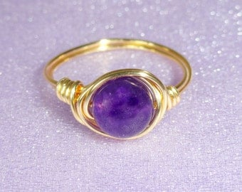 Amethyst wire wrapped ring, Gold amethyst wire wrapped ring, Gemstone ring, Purple stone ring, Gifts