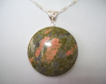 Georgeous Unakite Pendant in Sterling Silver with Chain
