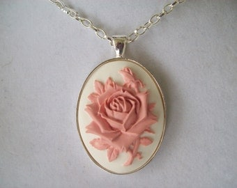 Pink and White Rose with Rosebud Cameo Pendant